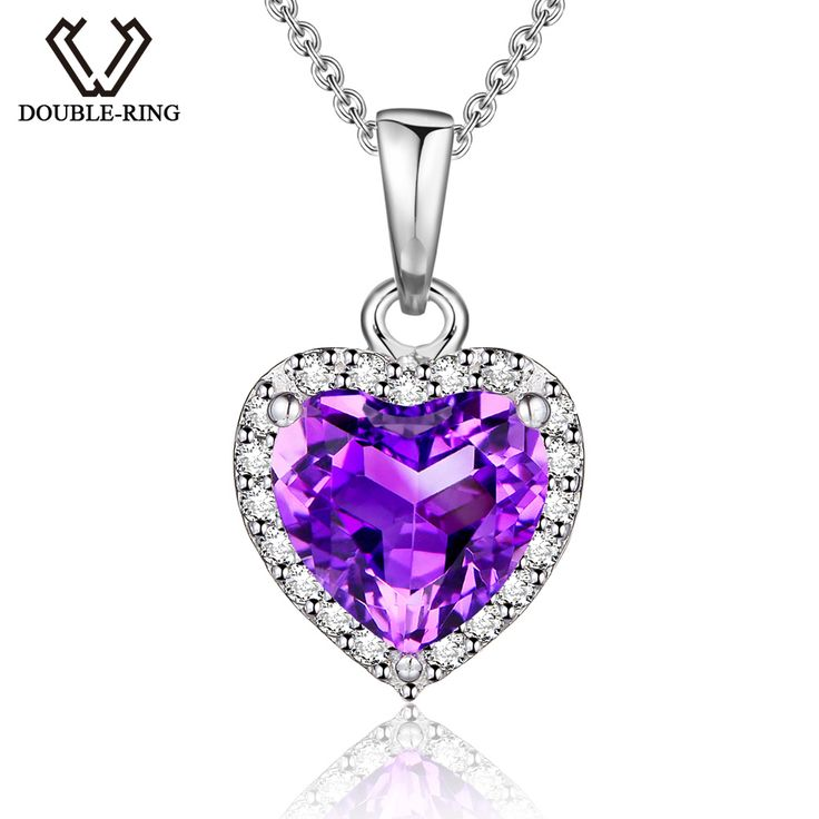 DOUBLE-R Natural 1.19 ct Amethyst Heart Pendant Women 925 Sterling Silver Necklaces & Pendants Gemstone Jewelry Gift CAP00649C