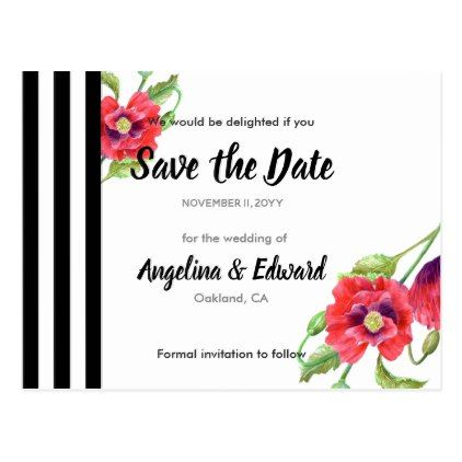 Red Poppies Wild Floral Wedding Save The Date Postcard - purple floral style gifts flower flowers diy customize unique