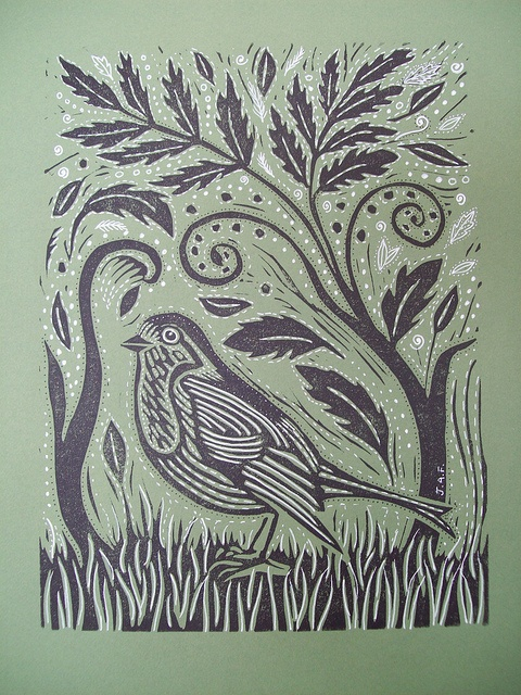 lovely lino print I haven't done Lino cuts for a long time...this would be fun to try again!