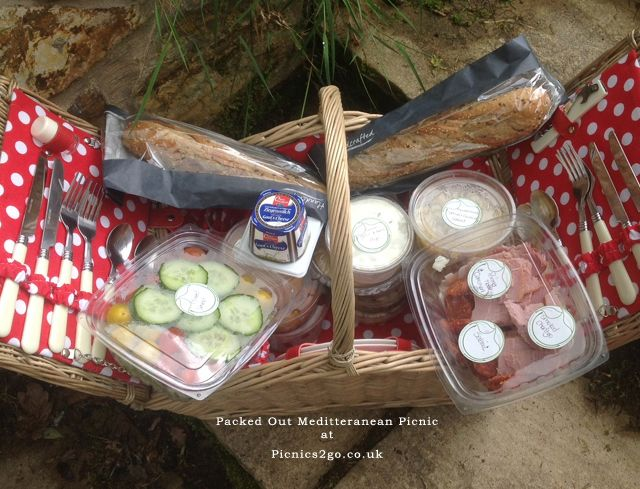 Mediterranean Hamper for 2, packed with anti-pasti, salami, chorizo, salad, humus, ciabatta and more....worth every penny and every single bite £60 for 2