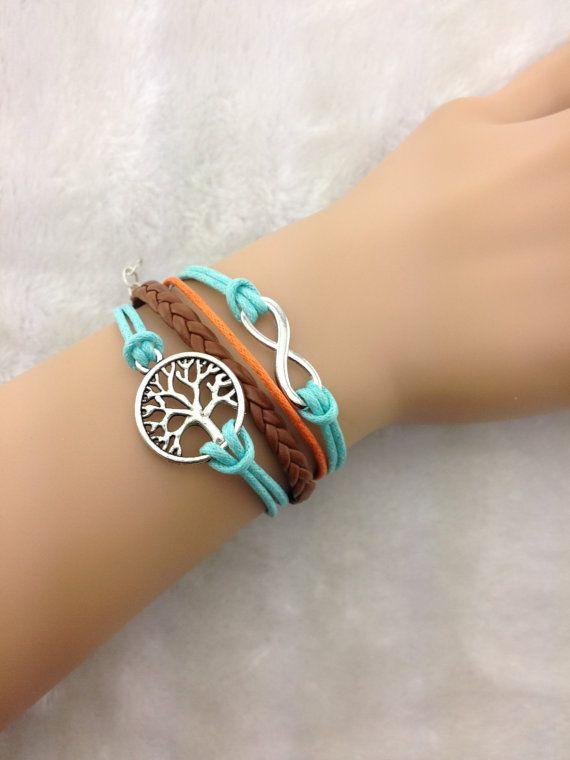 5pcsKama pulseira de couro marrom, rasa linha azul pulseira, desejando pulseira árvore, ZA072 em bracelete da forma de pulseira de metal no AliExpress.com