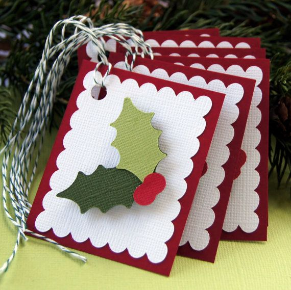 Holly & Berries Christmas Tags or Package Labels Qty by scrapbits, $4.75