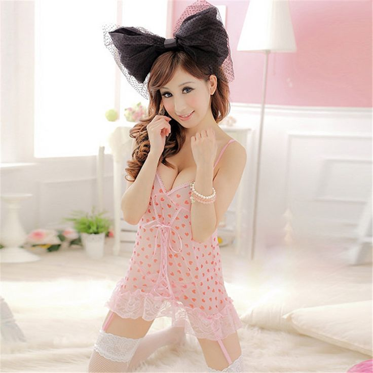 Selling Hot Women Pink Princess Sweetheart Sling Chiffon Garter Sleepwear Dress  + G-String Briefs Lingerie