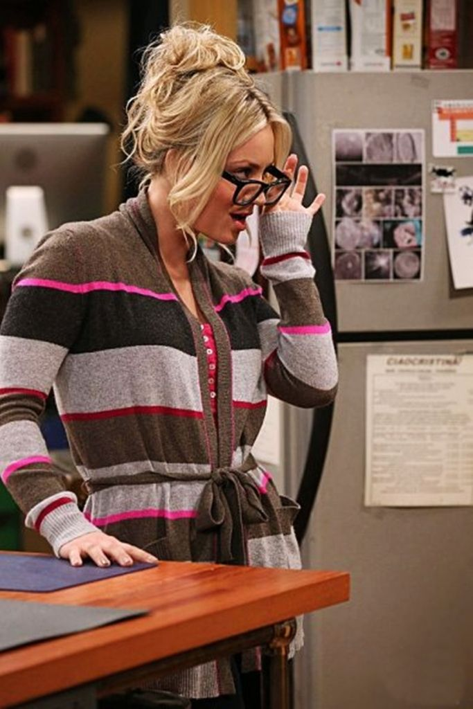 Christine Baranski Big Bang Theory Porn - Aqua Cashmere Sweater - Multi Stripe Wrap Cardigan With Pockets and The Big  Bang Theory - Worn by Penny (Kaley) in season 6 of TBBT.
