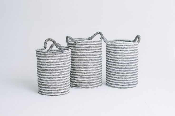 Tall Round Striped Basket White