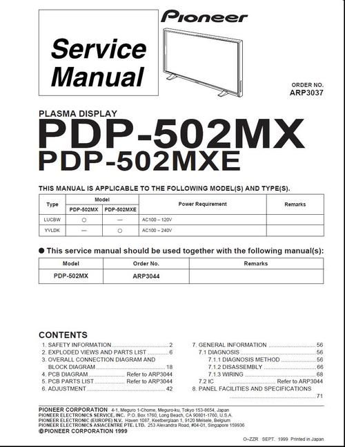 Pioneer PDP-502MX , edition ARP-3037 , 1999 printed , Kuro Plasma TV Service Manual 100 DOWNLOAD