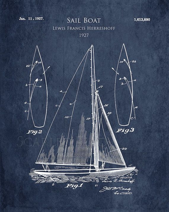 1920s Sail Boat patent print sail boat blueprint by ScarletBlvd