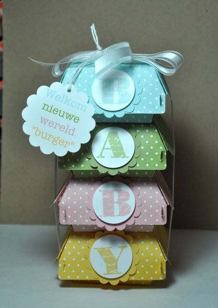 Eveline van Heijst, stack of hamburger die boxes from Stampin' Up! Baby shower / baby gift. Love this idea!
