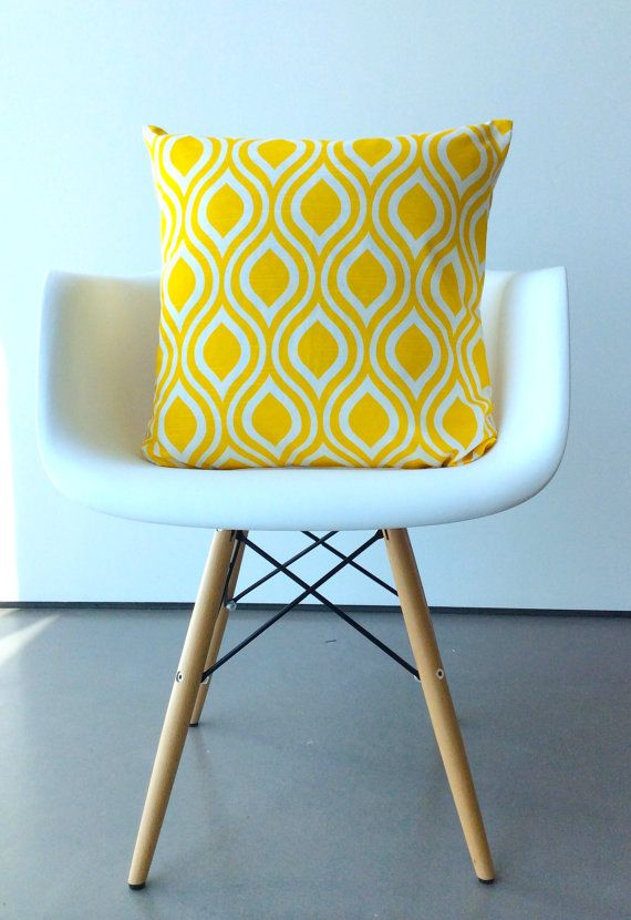 Yellow pillow cover One 16 x 16 inches Nicole Print Yellow cushion cover modern pillows