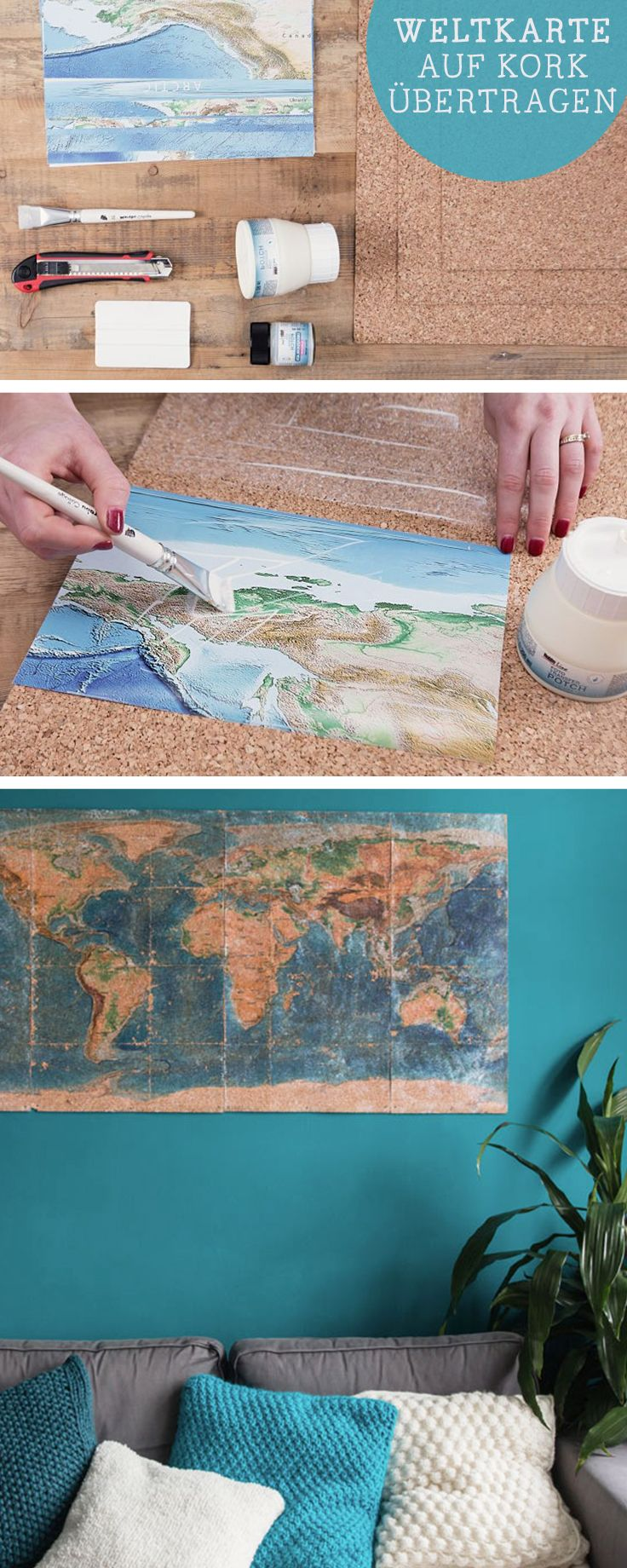 DIY-Anleitung für selbstgemachte Wanddeko: Weltkarte auf Kork übertragen / diy tutorial: world map made of cork,  wall decoration, selfmade home decor via DaWanda.com