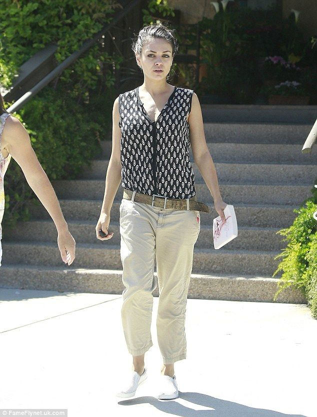 Fresh-faced: The actress opted for a typically casual ensemble as she spent some time at t...