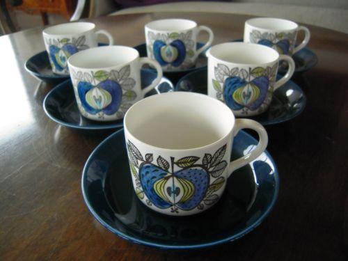 Rorstrand Rörstrand Eden Coffeecups and Saucer 6ST Sigrid Richter | eBay