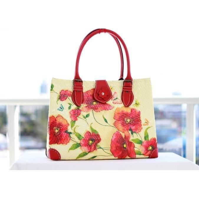 $69.00 Poppies designed decoupage on Krajood handbag. by 1stDesign on Handmade Australia