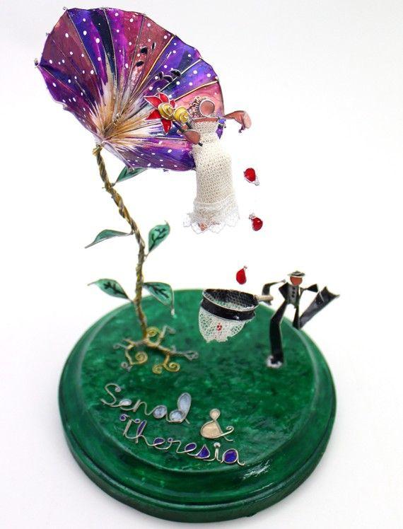 He Loves Me Morning Glory- Custom Wedding Cake Topper on Etsy, $195.00