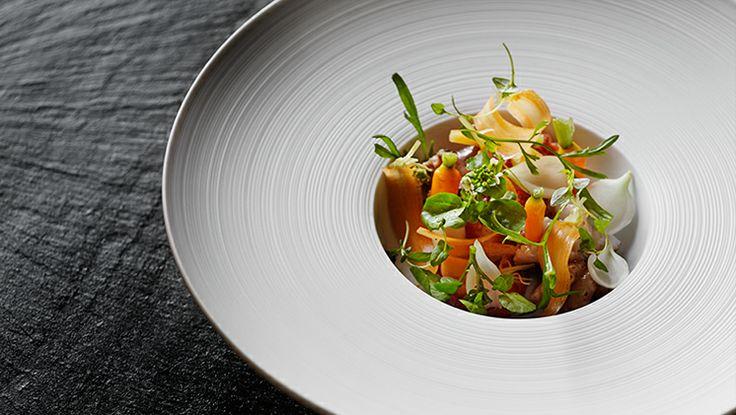 Lobster and squid at our Michelin star restaurant Kokkeriet, Copenhagen - Denmark.