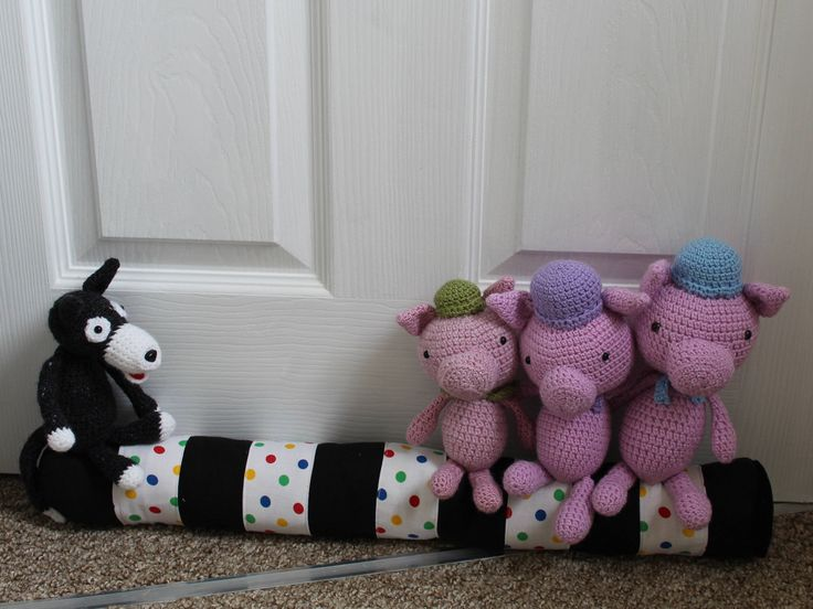 Crochet Three Pigs and The Wolf doorstop/draught excluder, novelty/fun animal present, fairy tale crochet, child's bedroom, birthday gift by serendipitygiftfinds on Etsy