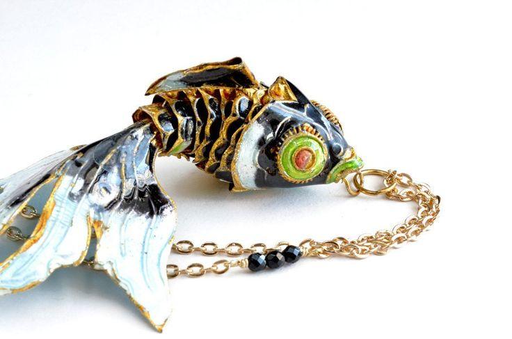 Black Koi Fish Necklace