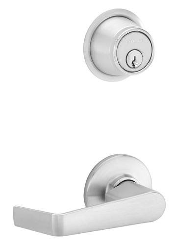 Schlage S210PD-SAT S200-Series Commercial Tubular Interconnected Single Locking Satin Chrome Leverset Keyed Entry Entrance