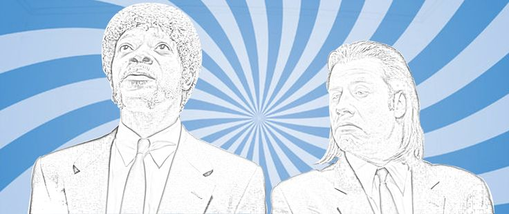 I was watching the film Pulp Fiction and got inspired to create this sunburst style image of Vincent Vega and Jules Winnfield in the lift. I still have a few more touches that I would like to add to this and a few variations but i'm happy with this as a foundation.