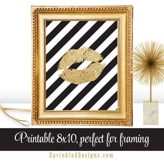 Gold Glitter Kiss Lips - Printable Art Makeup Vanity Bedroom Decor 8x10 Sign Dorm Room Decoration by SprinkledDesign
