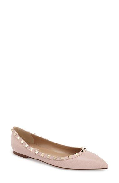 Yassssss Valentino 'Rockstud' Ballerina Flat (Women) in Rose Water Leather at #Nordstrom
