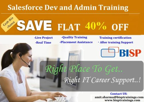 Salesforce Dev/Admin Complete Professional Training at 9999INR Only.   Attend Free Demo on Saturday, 9th April at 9:00 AM IST.   REGISTER HERE: https://attendee.gototraining.com/r/6681674261576379138   For more details contact Anwar at anwarul@bisptrainings.com or call us +91 9479765285 or visit our website www.bisptrainings.com.