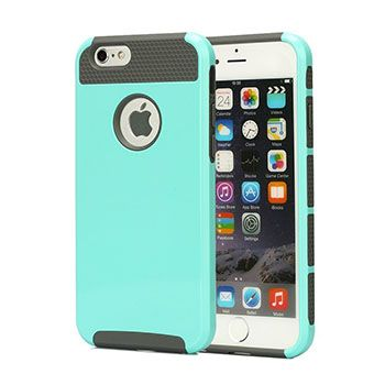 iPhone 6 Plus 5.5 Case, Vogue shop Hybrid High Impact Heavy Duty Dual Layer Hard PC Outer Shell with Soft Rubber (aqua+gray)