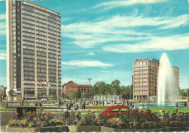 berlin postcard, 60s/70s, west-germany, BEING IN WEST GERMANY was like being in Las Vegas, being in E. Germany was gray, dark and people on the street were frightened in 1972-Gloria