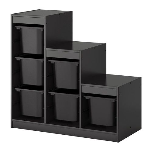 TROFAST Storage combination with boxes - black - IKEA