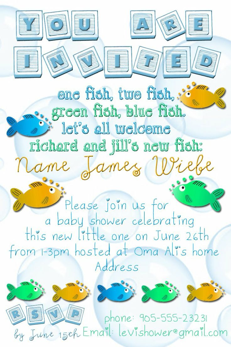 Baby Shower Invitations/fish | Baby Shower Invitation Yellow Blue And Green Fish  Theme
