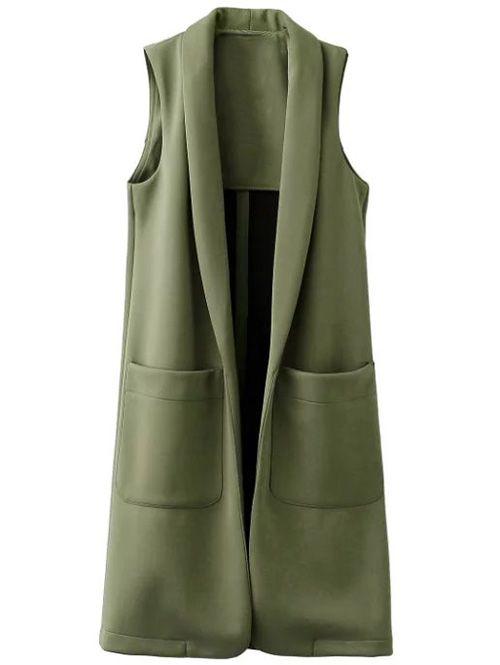 Pockets Turn-Down Collar Long Waistcoat