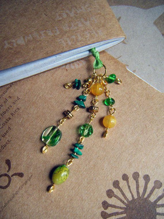 Loki Green and Gold Bookmark Beaded Ribbon Book Thong by ElfRenee, $10.00