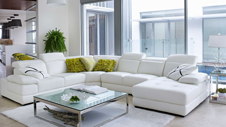 Cologne Modular Leather Lounge with Chaise - Harvey Norman
