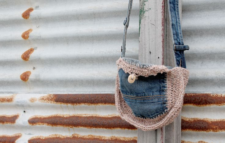 Bag made from up-cycled denim jean pockets and a little piece of coral as a button. So clever!
