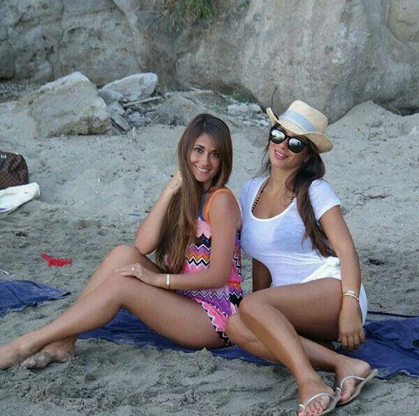 En la playa.