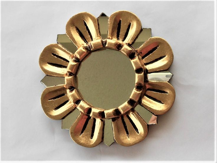 "6"", Gold Mirror,, Round Mirror, Small Wall Mirror, Mirrored Wall Mirror, Gold Leaf Mirror, Decorative Mirrors,Mirror Gold, Flower Mirror by GoldLeafGirl on Etsy"