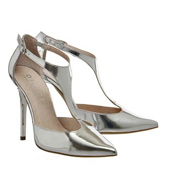 Office Tinker T Bar Point Heels Silver Mirror High