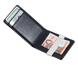 MIDNIGHT  carteira para cartão de crédito com clip para notas em couro macio e preto.