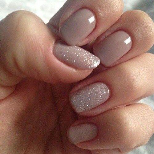 Nude and glitter nail polish #nailart #GlitterNails