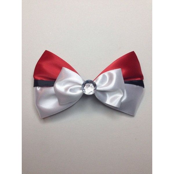 Pokemon- Pokeball inspired hair bow ❤ liked on Polyvore featuring accessories…