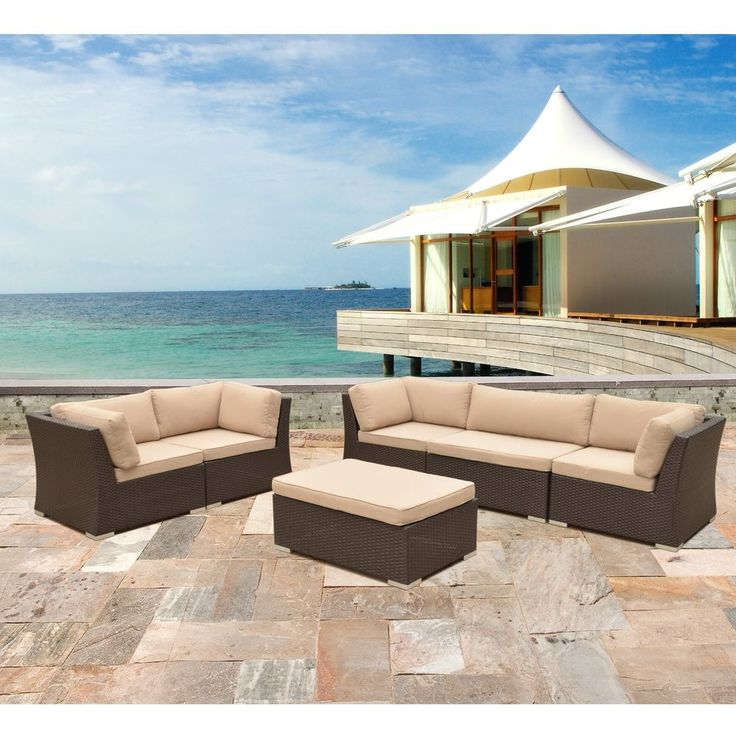 6 PC Modern Rattan Patio Set Outdoor All Weather Sectional Sofa Furniture  Wicker #Sirio