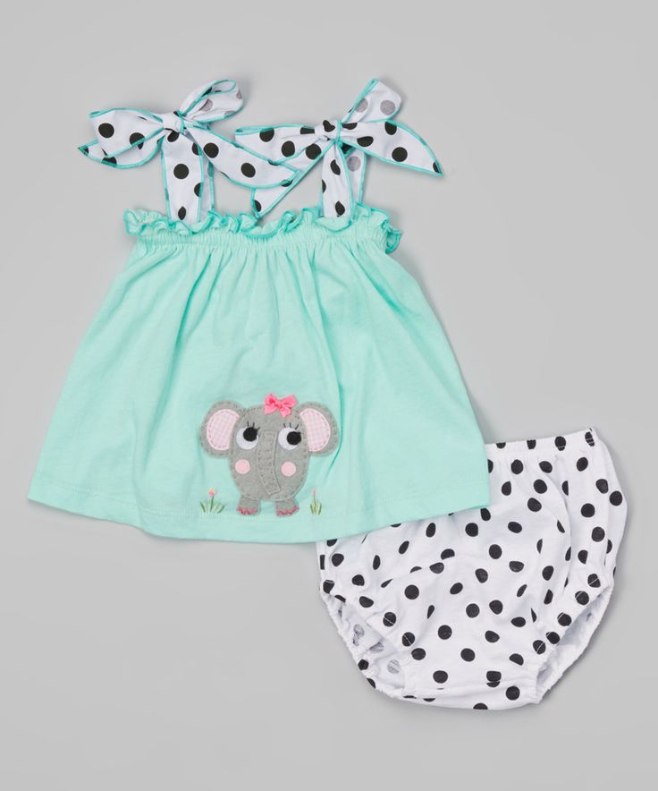 Love this Light Green Elephant Top & Diaper Cover - Infant & Toddler by Victoria Kids on #zulily! #zulilyfinds