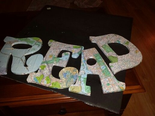 Saw this on pinterest, so recreated for my travel themed classroom this year. Modge podge, wooden letters from my local craft store and a map of NYC.