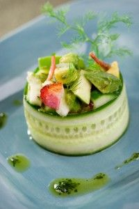 Strawberry Apple, Cucumber & Avocado Salad- food presentation