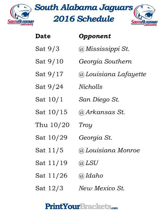 Printable 2016 South Alabama Jaguars Football Schedule