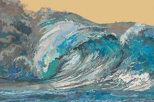 Matthew Cusick, Kayli's Wave, 2013 / 2014 © www.lumas.com/ #Lumas - #blue #Collage Collages #curl #Detail Details #GoldMap #Maps #Ocean #Oceans #turquoise #Water #Wave #Waves white