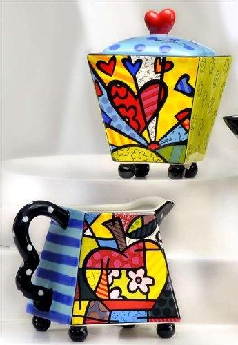 New Romero Britto Creamer & Sugar Set Ceramic Cream Coffee Bowl Collection NIP !