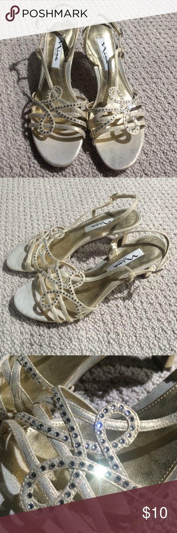 BRAND NEW NINA white and gold heels Nina brand strapped heel - brand new never worn! Nina Shoes Heels