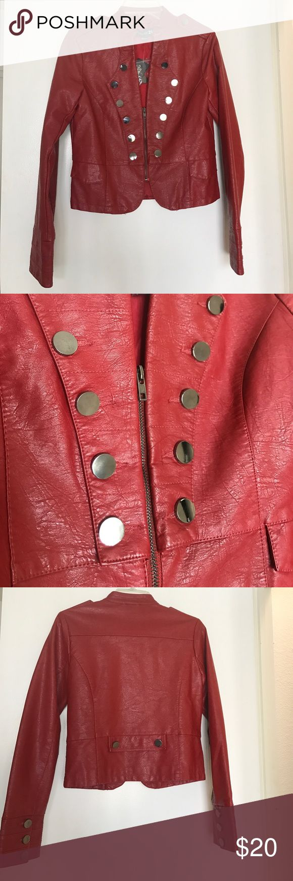 Faux Red leather jacket Faux red leather jacket, faux pockets, shirt front zipper, lined Forever 21 Jackets & Coats