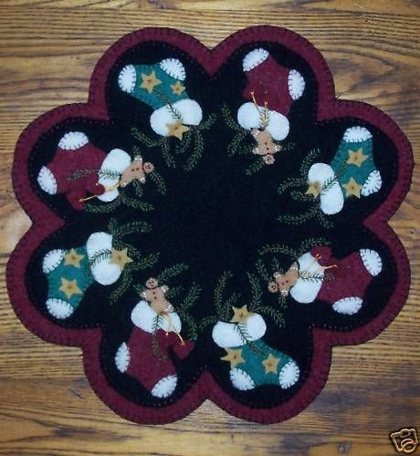"""*Stockings Of Joy!"""" Wool Penny Rug Candle Mat"""